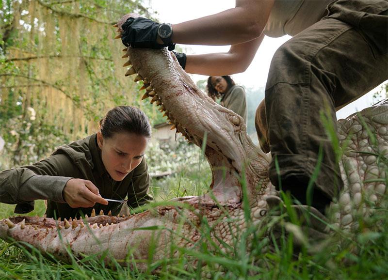 Annhilation: weißes Krokodil und drei Menschen