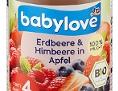 """Der Babybrei """"babylove Erdbeere & Himbeere in Apfel 190 g, nach dem 4. Monat"""" von dm wird zurückgerufen"""
