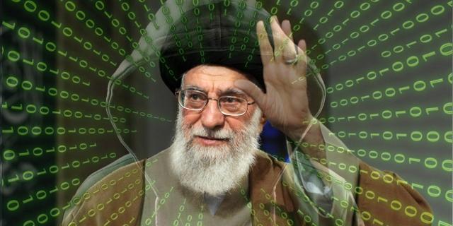 Ein Datenstrom kommt aus dem Porträt von Ali Khamenei