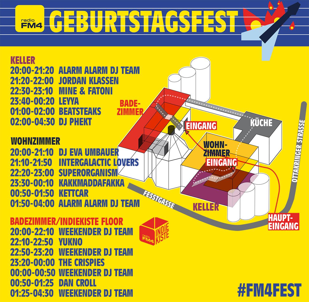 Running Order und Timetable FM4 Geburtstagsfest