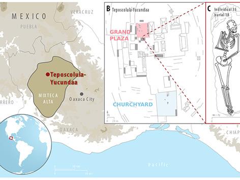 Grafik: Ausgrabungsort in der Stadt Teposcolula-Yucundaa