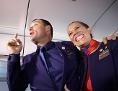 Die Flugbegleiter Carlos Ciuffardi und Paola Podest, die von Papst Franziskus im Flugzeug getraut wurden