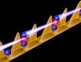 """Grafik: """"Quantendraht"""", bestehend aus einem Lichtschlauch und Cäsium-Atomen"""