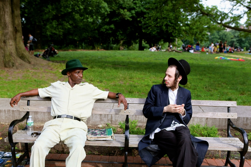 Jewish man meets african-american man in park