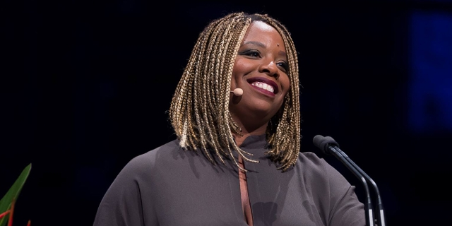 Patrisse Cullors accepting the sydney peace prize