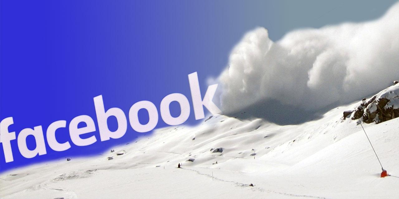 Eine Lawine kommt auf den Facebook Schriftzug zu