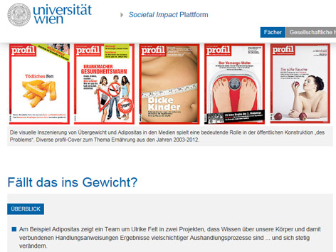 Screenshot Uni Wien Societal impact plattform
