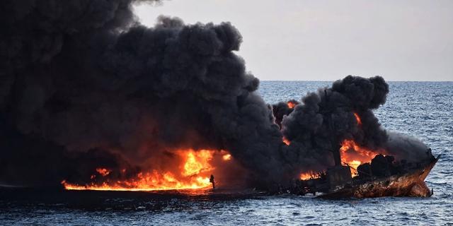 Brennender Öltanker Sanchi