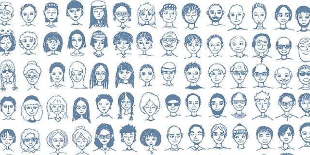 Viele verschiedene gezeichnete Gesichter als Symbol für den Sozialstaat