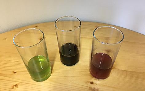 Drei Gläser mit MediCap-Getränken
