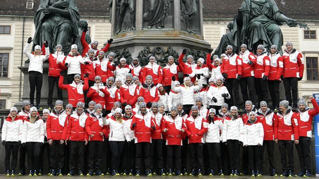 Die österreichische Olympia-Mannschaft am Mittwoch, 24. Jänner 2018