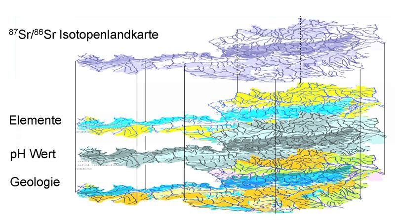 Schematische Abbildung einer Isotopenlandkarte für das von der Geologie beeinflusste Verhältnis der Isotope Strontium 87 / Strontium 86