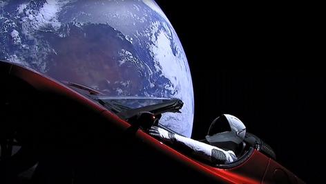 Bild aus dem Livestream von SpaceX - Falcon Heavy