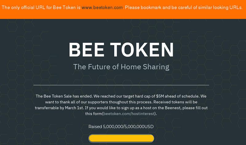 Startseite des gehackten Start-Ups Beetoken