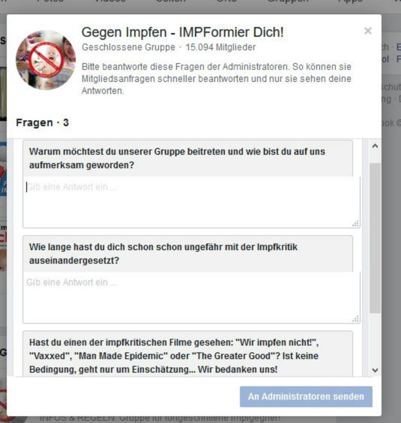 Frageformular einer Anti-Impf-Facebookgruppe