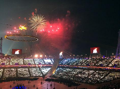 Feuerwerk im Olympischen Stadion