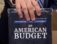 Eine Hand hält das US-Budget 2019 als dunkelblaues Buch gebunden.