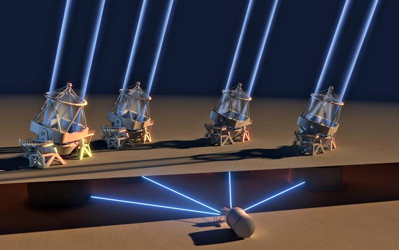 Espresso kombiniert das Licht aller vier Teleskope auf dem Paranal