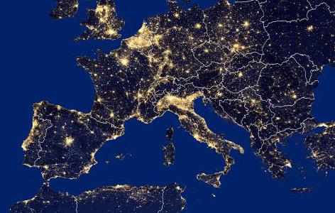 Satellitenaufnahme: Nachtlichter in Europa