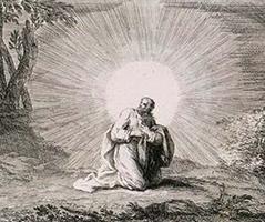 Stich von Joseph Parrocel (1646–1704): Jesus in der Wüste