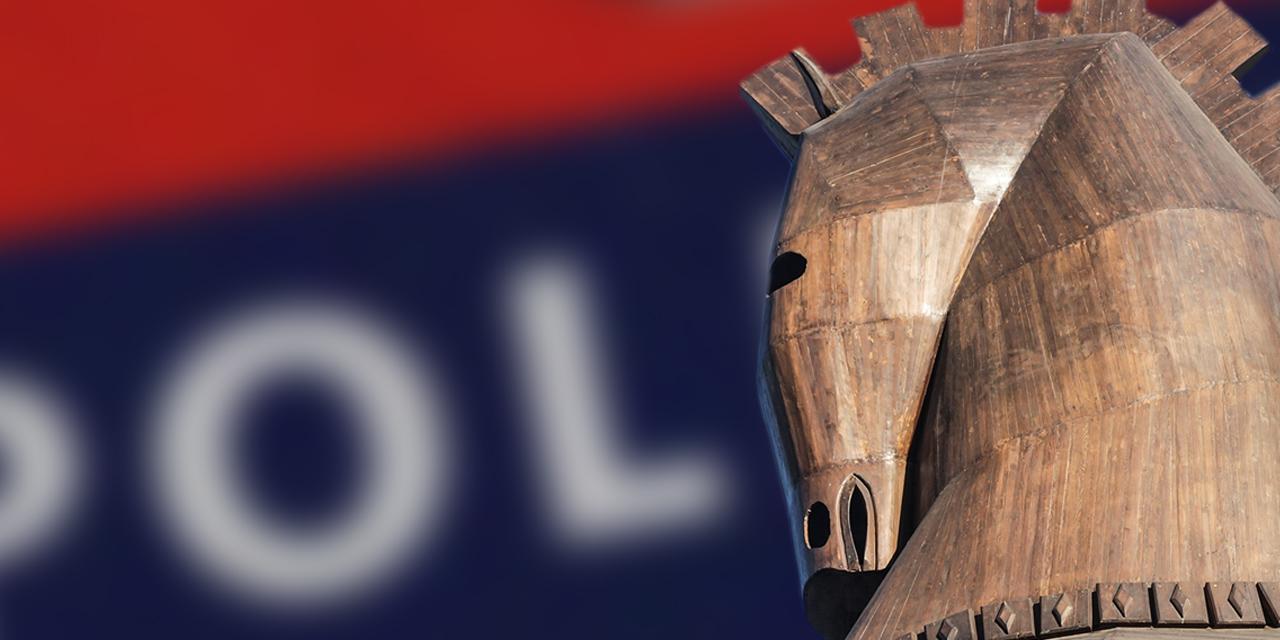 Trojanisches Pferd vor Polizei Logo