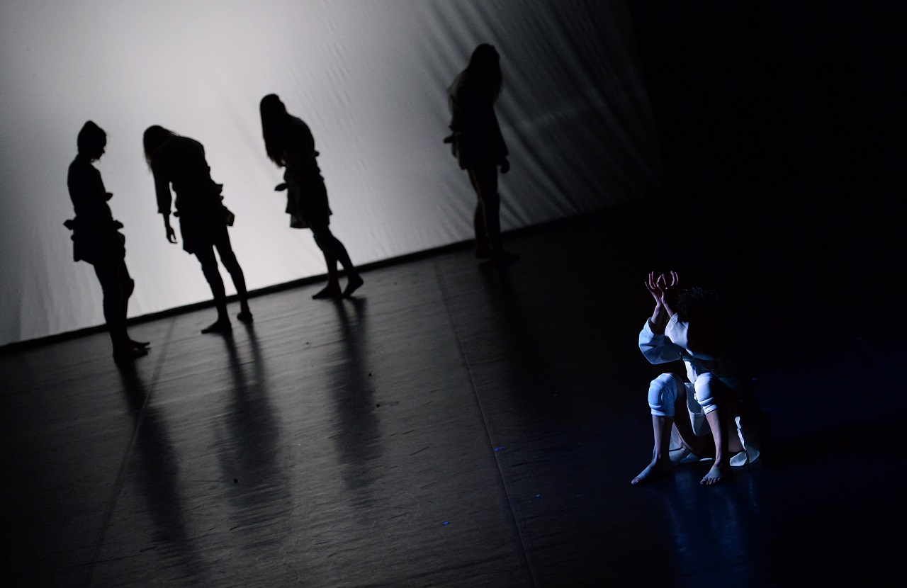 Dancers of the 'Inversedance' contemporary group perform on the stage of the National Dance Theater in Budapest