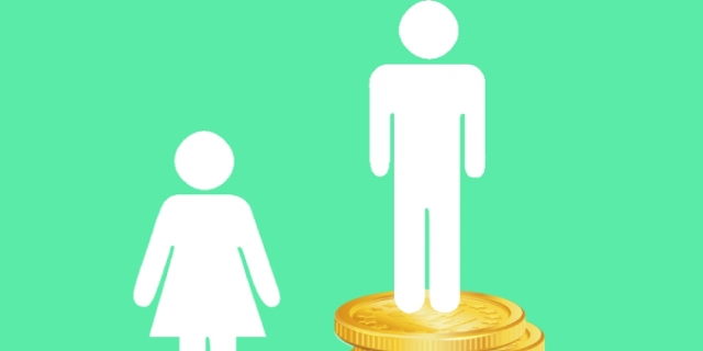 grafik: eine männliche und eine weibliche figur auf verschieden hohen münzstapeln