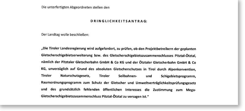 Antragsformulierung der Liste Fritz zum Zusammenschluss von Ötztaler und Pitztaler Gletscher
