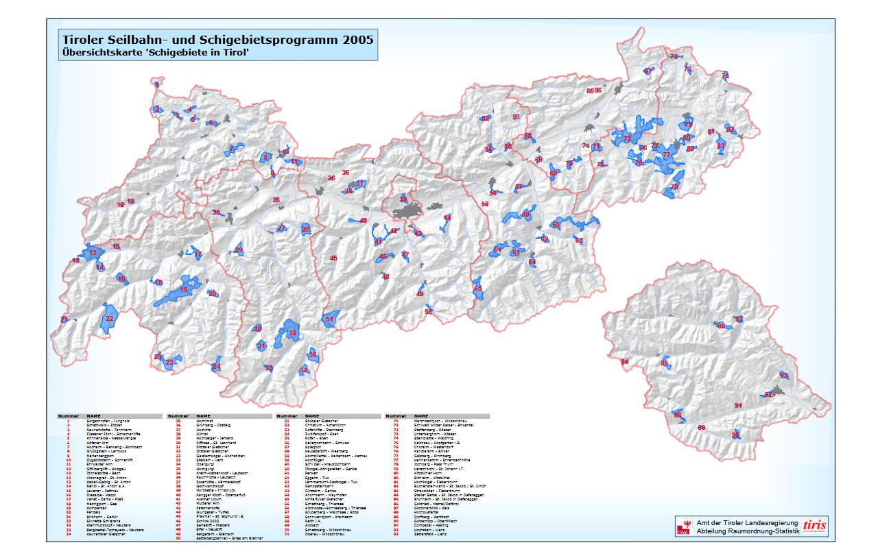 Pisten- und Schigebietflächen in Tirol