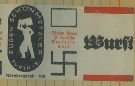Banderole einer antisemitischen Wurst