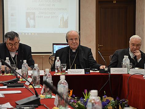 Kardinal Schönborn mit Erzbischof von Sarajewo Vinko Puljic  in Sarajewo