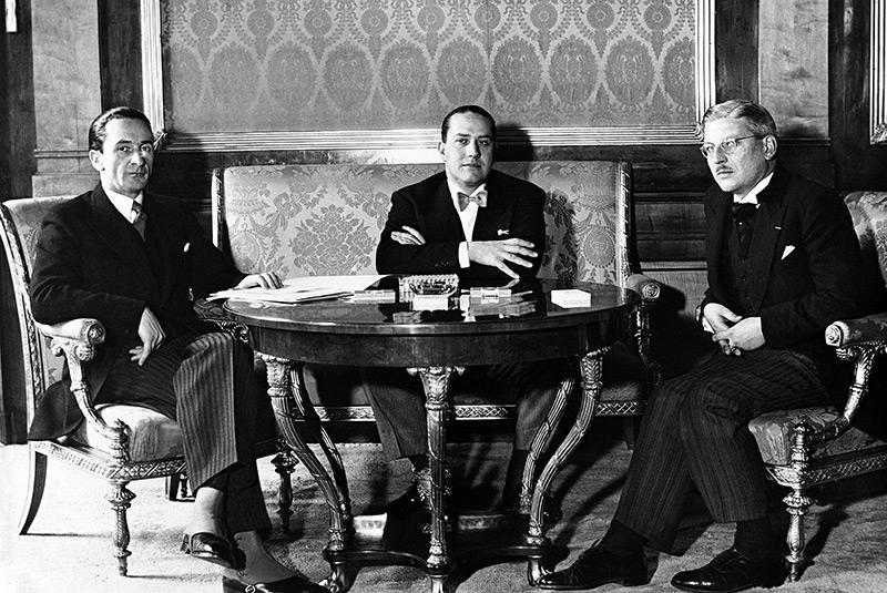 Guido Schmidt, Count Ciano und Kurt Schuschnig bei einem Treffen 1936