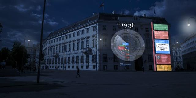 Geplante Projektion auf der Fassade des Bundeskanzleramts