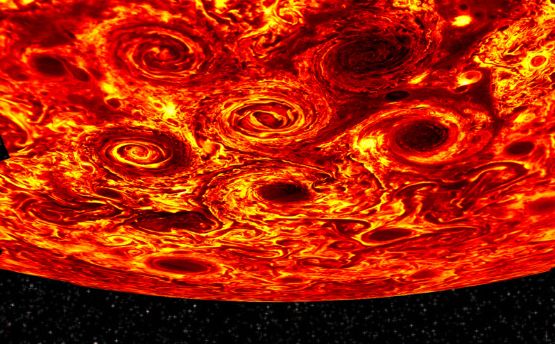 """Jupiters Südpol (Bild zusammengestellt aus mehreren """"Juno""""-Aufnahmen)"""