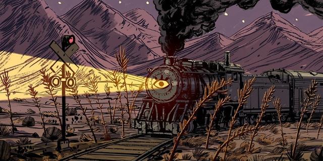 Grafik: Zug fahrt durch einsame Landschaft in der Nacht