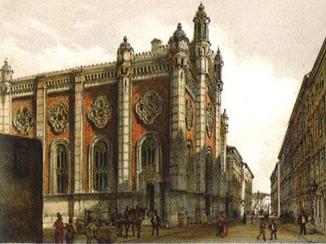 """Gemälde des Leopoldstädter Tempels von Rudolf von Alt 1860. Scan aus dem Buch """"Grosser Bahnhof. Wien und die weite Welt."""""""
