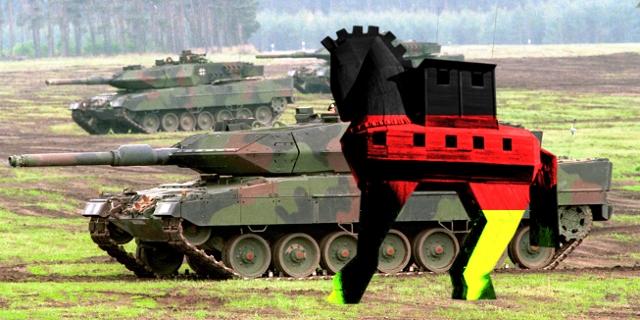 Panzer Leopard 2 A5 und hineinmontiert ein trojanisches Pferd in Schwarz-Rot-Gold