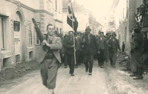 """Szene vom """"Anschluss"""" in Villach"""