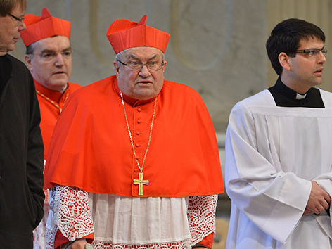 Kardinal Lehmann 2013 auf Krücken