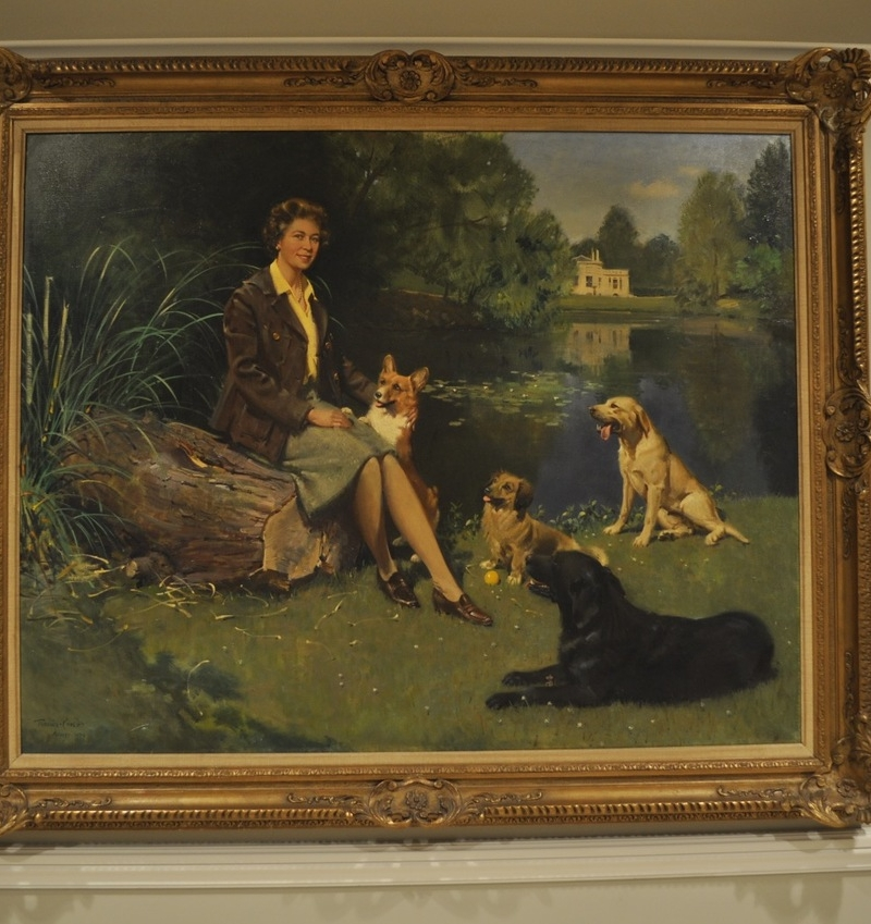 Queen with Dogs Painting