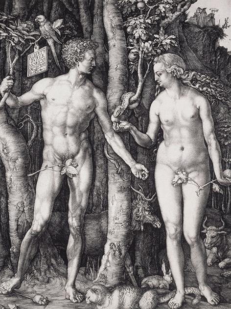 """kupferstich Albrecht Dürers vom """"Sündenfall"""" Adam und Evas 1504. Standort: Museum of Fine Arts Boston."""