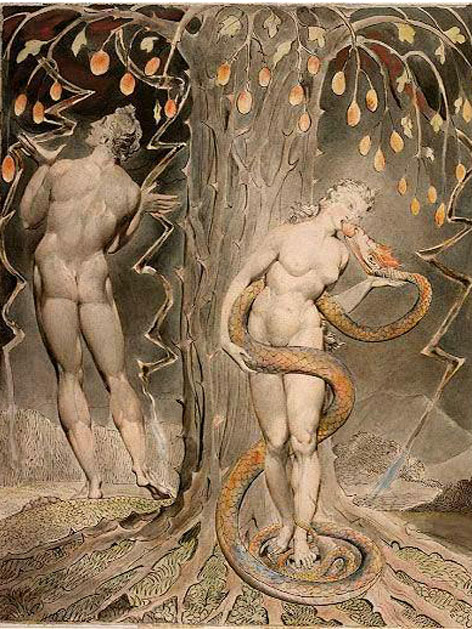 "Illustration von William Blake ""Adam un Eva"" für John Miltons ""Paradise Lost"""