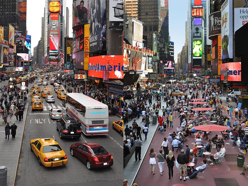 Der Broadway in New York - vor und nach der Umgestaltung