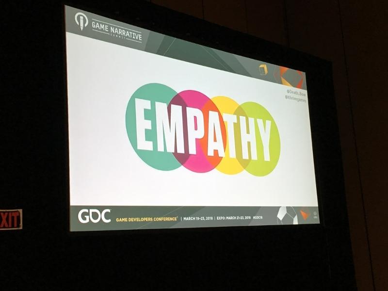 """Eine Slide, auf der in bunten, großen Lettern """"Empathy"""" steht."""