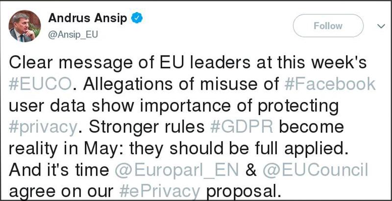 Tweet von Andrus Ansip
