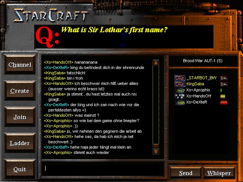 Screenshot aus dem Battle.net aus dem Jahr 1999