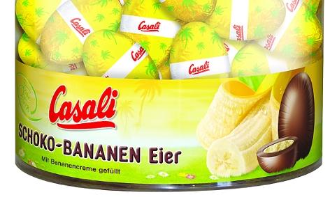 Eine Packung Casali Schoko-Bananen-Eier