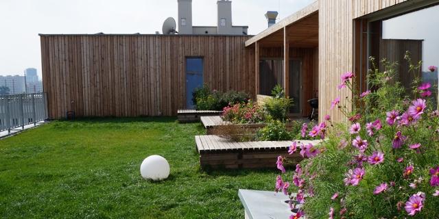 Die Dachterrasse im Wohnprojekt Wien