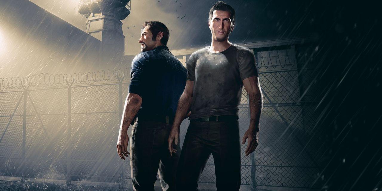 """Artwork von """"A Way Out"""": Vincent und Leo stehen nebeneinander, im Hintergrund sieht man das Flutlicht des Gefängnisses."""