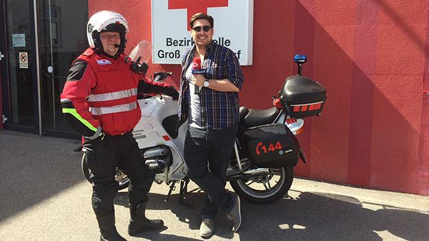 Motorrad, Fahrer und Ö3-Reporter Michi Heininger